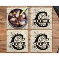 "Le Prise™ Personalized Coaster Set Of 4 - 4"" Black Stone Monogram Coasters, Terrazzo Style Black Stone Customized Coaster Set For Wedding Present"