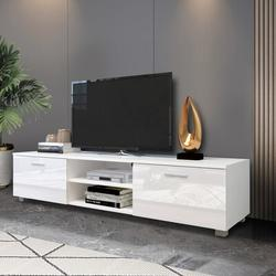 Latitude Run® TV Stand For 70 Inch TV Stands, Media Console Entertainment Center Television Table in White, Size 14.17 H x 62.99 W x 15.74 D in