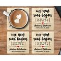 """Le Prise™ Personalized Coaster Set Of 4 - 4"""" Travertine Stone - Our New Road Began Coasters, Customized Coaster Set For Wedding Present in Brown"""