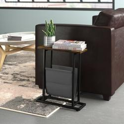 Trent Austin Design® Vintage Narrow End Table w/ Fabric Magazine Holder Sling, Modern Industrial Side Table Or Sofa End Table in Black/Brown Wayfair