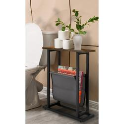 17 Stories Vintage Narrow End Table w/ Fabric Magazine Holder Sling, Modern Industrial Side Table Or Sofa End Table in Black/Brown   Wayfair