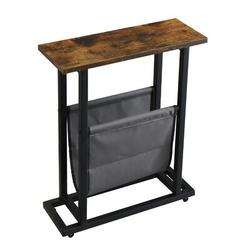 17 Stories Vintage Narrow End Table w/ Fabric Magazine Holder Sling, Modern Industrial Side Table Or Sofa End Table in Black/Brown | Wayfair