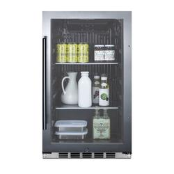 Summit Appliance 110 Cans (12 oz.) Outdoor Rated Freestanding Beverage Refrigerator Glass/Metal, Size 33.88 H x 19.0 W x 17.75 D in | Wayfair