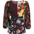 Dolce & Gabbana Patchwork Silk Blouse - Black - Dolce & Gabbana Tops