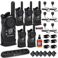 6 x Motorola CLS1410 UHF 1 W 4-Channel 2-Way Radio (CLS1410) + Motorola 6 Bank Charger + 6 x HKLN4606 Remote Speaker Mic + Mic Sanitizer Spray + Velcro Straps - 6 Pack with Mics Bundle