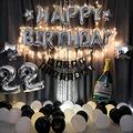 Happy Birthday Banner - Birthday Party Decoration Package, Birthday Party Letter Aluminum Film Balloon, Round Balloon, Romantic Confession Charm Blue Theme Party Balloon, for All Ages Birthday Party (Silver)