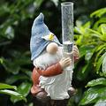 Jocund Hand Painted Gnome Rain Gauge Sculpture,Resin Gnome Garden Statue with a Plastic Rain Gauge for Your Garden, Lawn or Patio - Charming, Durable, Weather Resistant Polyresin Statue (B-Resin)