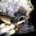 Multi-functional Camping Light, Headlamp LED Rechargeable, 5LED Cap Light Waterproof Fishing Lamp T6 4 Modes Outdoor Induction Smart Light High Power Glare Head Torch Light (Color : Gold) for Hiking F