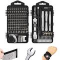 145PCS Precision Screwdriver Set, VMAN Mini Screwdriver Set S2 Steel Damaged Screw Extractor Set, Electronic Repair tool kit for Watch, Mobile Phone, Computer, Camera, With Wrench, Magnetizer
