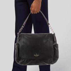 Kate Spade Bags | Kate Spade Flap Fold Over Grained Leather Bag | Color: Black | Size: Os