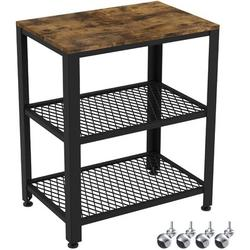 Ironck Industrial Kitchen Cart 3-tier, Rolling Serving Cart On Wheels w/ Storage, Microwave Cart For Kitchen in Brown/Red   Wayfair HK-SC-01