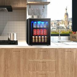 Costway 60 Can Beverage Refrigerator Beer Wine Soda Drink Cooler Mini Fridge Glass Door, Size 19.5 H x 17.5 W x 18.5 D in | Wayfair EP23231