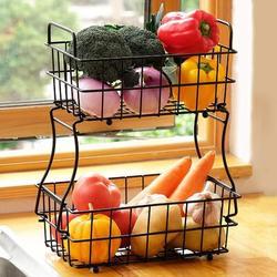 Prep & Savour 2 Tier Fruit Basket, Metal Fruit Bowl Bread Baskets, Detachable Fruit Holder Kitchen Storage Baskets Stand DECLUTTR in Black | Wayfair