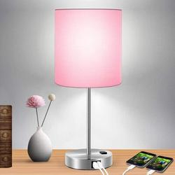Ebern Designs Touch Control Table Lamp, 3-Way Dimmable Lamp w/ 2 Fast Charging USB Ports & Power Outlet, Bedside Lamp, Nightstand Lamp in Pink