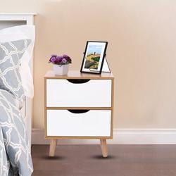 Corrigan Studio® New Storage Cabinet Bedroom Bedside Locker Double Drawer Nightstand Wood in Brown, Size 5.71 H x 20.08 W x 14.76 D in | Wayfair
