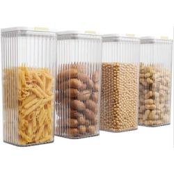 Prep & Savour 4 PC Food Storage Containers Pantry Container, Airtight Plastic Canisters Food Canisters For Kitchen Pantry Organization & Storage