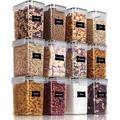 Prep & Savour Airtight Food Storage Containers 12 Pieces 1.5Qt/1.6L- Plastic BPA Free Kitchen Pantry Storage Containers For Sugar   Wayfair