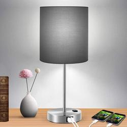 Ebern Designs Touch Control Table Lamp, 3-Way Dimmable Lamp w/ 2 Fast Charging USB Ports & Power Outlet, Bedside Lamp, Nightstand Lamp in Black