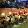Solar Lights Outdoor Decorative, 2PC/3 PC Artificial Chrysanthemum Solar Garden Lights, Powered Landscape Lighting, Waterproof Solar Flower Lights for Garden Patio Lawn Yard Decorative (Pink-2 PC)