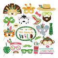 Kristin Paradise 25Pcs Safari Animals Photo Booth Props with Stick, Tribal Jungle Theme Selfie Props, Wild Birthday Party Supplies, Photography Backdrop Decorations