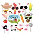 Kristin Paradise 25Pcs Farm Animal Photo Booth Props with Stick, Barnyard Selfie Props, Barn Yard Party Supplies, Petting Zoo Farmhouse Birthday Theme Backdrop Decorations, First 1st Bday Baby Shower