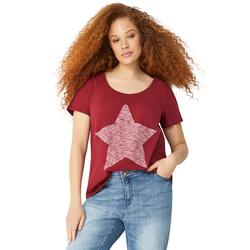 Plus Size Women's Love Ellos Tee by ellos in Maroon Red Star (Size 3X)