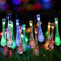 N\C 30 LEDs Solar String Lights, 20ft Colorful Water Drop String Lights, Raindrop Fairy Lights, Starry Lights, Waterproof Solar Decoration Lights for Gardens, Home, Party chen