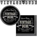 Vintage Dude Party Supplies 16 Appetizer Dessert Plates, 16 Beverage Napkins, Decorative Banner and Recipe