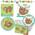 Sloth Happy Birthday Party Supplies 16 Dinner Plates, 16 Cake Plates, 16 Lunch Napkins, 16 Beverage Napkins, Banner, Table Cover, Recipe