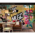 Photo Wallpaper 3D Effect Anime Retro Graffiti Living Room Bedroom Mural Wallpaper 3D Hd 3D Mural Decoration Wallpaper Wall Sticker Border -250x175CM(LxH)-XL
