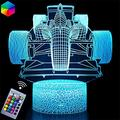 XKUN 3D Light for Kids, 3D Formula Car Illusion Night Motor Vehicles Led Lamp Dimmable Car Gifts 1 2 3 4 5 6 7 8 9 Year Old Boy Gifts Formula Car,Race Car