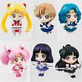 Anime Sailor Moon Tea Cup Decorations Action Figures Kids Toys Tsukino Usagi Chibi Usa Sailor Uranus Pluto Neptune Saturn 6pcs