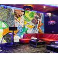 Photo Wallpaper 3D Effect Abstract Graffiti Retro Living Room Bedroom Mural Wallpaper 3D Hd 3D Mural Decoration Wallpaper Wall Sticker Border -250x175CM(LxH)-XL