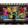 Photo Wallpaper 3D Effect Retro Graffiti Car Living Room Bedroom Mural Wallpaper 3D Hd 3D Mural Decoration Wallpaper Wall Sticker Border -350x256CM(LxH)-XXL