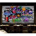 Photo Wallpaper 3D Effect Retro License Plate Graffiti Living Room Bedroom Mural Wallpaper 3D Hd 3D Mural Decoration Wallpaper Wall Sticker Border -400x280CM(LxH)-XXL