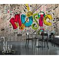 Photo Wallpaper 3D Effect Retro Animal Graffiti Living Room Bedroom Mural Wallpaper 3D Hd 3D Mural Decoration Wallpaper Wall Sticker Border -350x256CM(LxH)-XXL