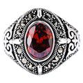 BEWITCHYU Sterling Silver Open Finger Ring S925 Sterling Silver Retro Court Style Red Zircon Oval Carved Closed Ring Fashion Men and Women Ring Gifts for Lover Red Zircon Carved Ring, 13#