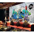 Photo Wallpaper 3D Effect Retro Graffiti Gray Living Room Bedroom Mural Wallpaper 3D Hd 3D Mural Decoration Wallpaper Wall Sticker Border -350x256CM(LxH)-XXL