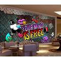 Photo Wallpaper 3D Effect Graffiti Retro Living Room Bedroom Mural Wallpaper 3D Hd 3D Mural Decoration Wallpaper Wall Sticker Border -250x175CM(LxH)-XL