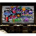 Photo Wallpaper 3D Effect Retro License Plate Graffiti Living Room Bedroom Mural Wallpaper 3D Hd 3D Mural Decoration Wallpaper Wall Sticker Border -350x256CM(LxH)-XXL