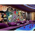 Photo Wallpaper 3D Effect Retro Graffiti Painting Living Room Bedroom Mural Wallpaper 3D Hd 3D Mural Decoration Wallpaper Wall Sticker Border -300x210CM(LxH)-XXL