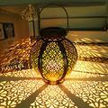MUJULY Solar Lantern, Outdoor Hanging Solar Lights Metal Retro Lantern Decorative Waterproof Table Lanterns Solar Garden Lights LED Lighting for Yard Tree Fence Patio Garden Decor