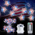 Crounuas LED String Light Independence Day Five-Pointed Star Flag Shaped Light String LED Tricolor Star Decorative Light String Holiday Party Outdoor String Light 3m with Remote Control
