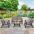 HTTH Outdoor Patio Conversation Sets Resin, Weather-Resistant 4 Pieces Outdoor Furniture Sets, Easy to Assemble Patio Furniture Sets, Stain-Resistant Furniture for Patio, Backyard and Garden (Grey)