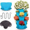 Stackable Planter Vertical Garden 15 'pots' for Vegetables, Flowers, Herbs, Succulents, Microgreen Gardening┃5 Tier - 15 Spaces Growing System for Indoor / Outdoor, Tower Garden (Teal, 5 Tier)