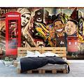 Photo Wallpaper 3D Effect Retro Graffiti White Brick Wall Living Room Bedroom Mural Wallpaper 3D Hd 3D Mural Decoration Wallpaper Wall Sticker Border -300x210CM(LxH)-XXL