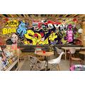 Photo Wallpaper 3D Effect Retro Graffiti Concrete Living Room Bedroom Mural Wallpaper 3D Hd 3D Mural Decoration Wallpaper Wall Sticker Border -300x210CM(LxH)-XXL