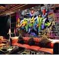 Photo Wallpaper 3D Effect Retro Graffiti Living Room Bedroom Mural Wallpaper 3D Hd 3D Mural Decoration Wallpaper Wall Sticker Border -400x280CM(LxH)-XXL