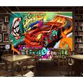 Photo Wallpaper 3D Effect Car Graffiti Retro Living Room Bedroom Mural Wallpaper 3D Hd 3D Mural Decoration Wallpaper Wall Sticker Border -400x280CM(LxH)-XXL