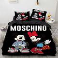 N、A Mickey and Minnie Mouse Bedding Duvet Cover Bed Set Queen Black Moschino Mickey Minnie Mouse Comforter Set for Boys Girls 1 Bed Cover 2 Pillow Shams